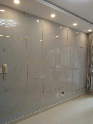 Tấm nhựa PVC vân đá ốp phòng khách (màu trắng)