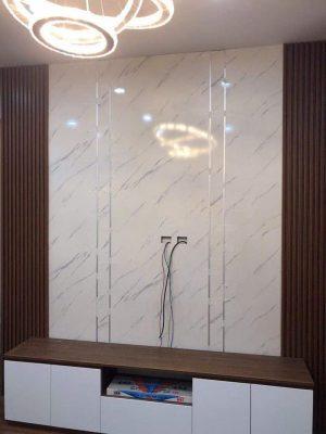 Ốp tấm PVC vân đá trang trí phòng khách